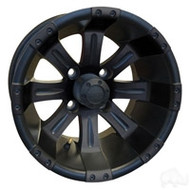 "12"" RHOX Vegas Matte Black Golf Cart Wheel"