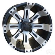 """12"""" RHOX Vegas Machined Matte Black Golf Cart Wheel 1"""