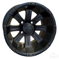 "14"" RHOX Vegas Matte Black Golf Cart Wheel"