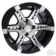 "12"" RHOX RX250 Machined/Black Golf Cart Wheel"
