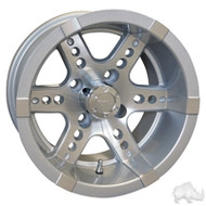 "14"" RHOX Machined with Silver 6 Spoke Golf Cart Wheel"