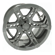 "14"" RHOX Chrome 6 Spoke Golf Cart Wheel"