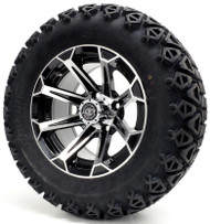 "12"" Madjax Machined Black Vortex Wheels and Lifted Tire Options"