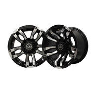 "12"" Madjax Machined Black Velocity Wheels and Lifted Tire Options"