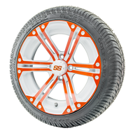 "14"" RHOX RX354 White and Orange Wheels 