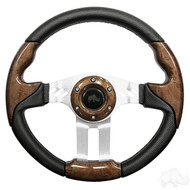 Woodgrain Grip/Brushed Aluminum Aviator 5 - Steering Wheel