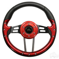 Red Grip/Black Spokes Aviator 4 - Steering Wheel