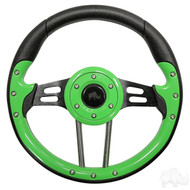 Lime Green Grip/Black Spokes Aviator 4 - Steering Wheel