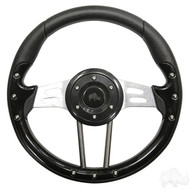 Black Grip/Brushed Aluminum Aviator 4 - Steering Wheel