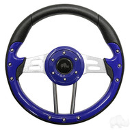 Blue Grip/Brushed Aluminum Aviator 4 - Steering Wheel