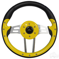 Yellow Grip/Brushed Aluminum Aviator 4 - Steering Wheel