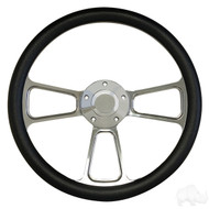 Faux Black Leather with Billet Aluminum Spokes- Steering Wheel