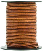 Brown Distressed Light Round Leather Cord 1.0mm 25 meters