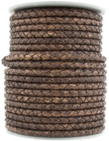Antique Brown Round Bolo Braided Leather Cord 4 mm 1 Yard