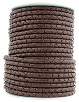 Dark Brown Round Bolo Braided Leather Cord 5 mm 1 Yard
