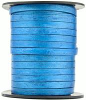 Blue Metallic Flat Leather Cord  5 mm 1 Yard