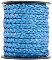 Blue Metallic Flat Braided Leather Cord 5 mm 1 Yard