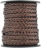 Brown Metallic Flat Braided Leather Cord 5 mm 1 Yard