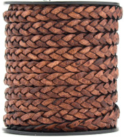 Brown Distressed Natural Dye Flat Braided Leather Cord 5 mm 1 Yard