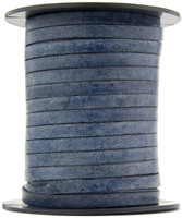 Midnight Blue Natural Dye Flat Leather Cord  5 mm 1 Yard