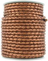 Copper Metallic Round Bolo Braided Leather Cord 4 mm 1 Yard