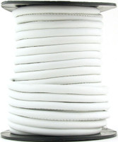 White Nappa Stitched Round Leather Cord 3 mm 1 Yard