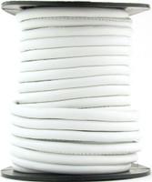 White Nappa Stitched Round Leather Cord 4 mm 1 Yard