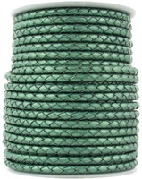 Turquoise Metallic Green Round Bolo Braided Leather Cord 3 mm 1 Yard