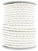 White Round Bolo Braided Leather Cord 4 mm 1 Yard