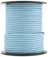 Sky Blue Round Leather Cord 2mm 50 meters