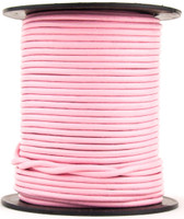 Baby Pink Round Leather Cord 1mm 10 Feet