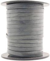Gray Flat Leather Cord  5 mm 1 Yard