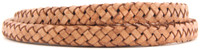 Tan Natural Dye Flat Braided Bracelet Leather Cord 8 mm