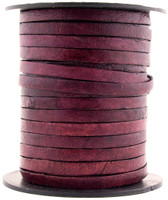 Red Wine Dye Flat Leather Cord 5 mm 1 Yard