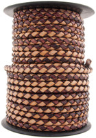 Cottonmouth Round Bolo Braided Leather Cord 4 mm 1 Yard