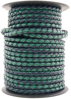 Navy Green Round Bolo Braided Leather Cord 5 mm 1 Yard