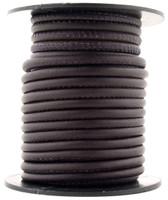 Dark Chocolate Nappa Stitched Round Leather Cord 4 mm 1 Yard
