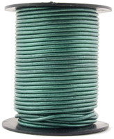 Turquoise Metallic Round Leather Cord 1.5mm 50 meters
