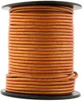 Orange  Metallic Round Leather Cord 1.0mm 50 meters