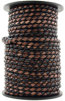 Black Brown Round Bolo Braided Leather Cord 5 mm 1 Yard
