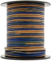 Blue Three Tone Round Leather Cord 1.0mm 25 meters