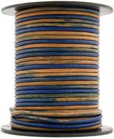 Blue Three Tone Round Leather Cord 1.5mm 10 Feet