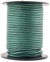 Turquoise Metallic Round Leather Cord 1.5mm 10 meters (11 yards)