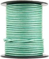 Mint Metallic Round Leather Cord 2.0mm 10 Feet