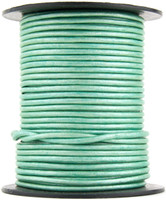 Mint Metallic Round Leather Cord 2.0mm 100 meters