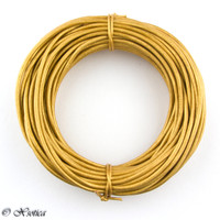 Gold Metalic Round Leather Cord 1.0mm 10 meters (11 yards)