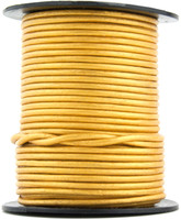 Gold Metallic Round Leather Cord 2.0mm 10 meters (11 yards)