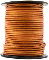 Orange Metallic Round Leather Cord 2.0mm 10 Feet