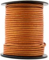 Orange Metallic Round Leather Cord 2.0mm 10 meters (11 yards)