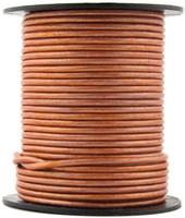 Copper Metallic Light Round Leather Cord 1.5mm 10 Feet